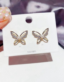 Fashion Real Gold Plated Hollow Pearl Micro Inlaid Zircon Butterfly Earrings