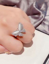 Fashion Platinum Plated Opal Micro-set Zircon Butterfly Ring