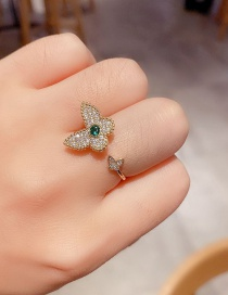Fashion Real Gold Plated Micro-set Zircon Rotating Butterfly Open Ring
