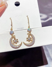Fashion Real Gold Plated Snowflake Micro Zircon Moon Earrings