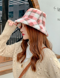 Fashion Pink Checked Plush Contrast Color Fisherman Hat