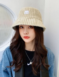 Fashion Beige Corduroy Double-sided Embroidered Fisherman Hat With Letters