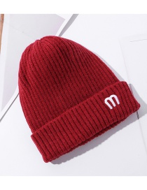 Fashion Red Pure Color Letter Embroidery Woolen Knit Hat