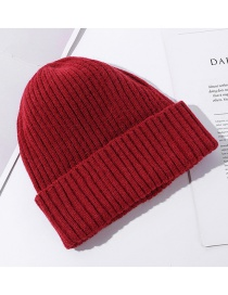 Fashion Red Pure Color Light Board Curled Knit Hat