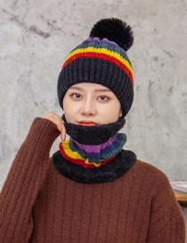 Fashion Black Hair Ball Plus Velvet Ear Protection And Face Protection Knitted Hat