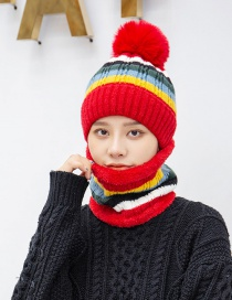 Fashion Red Two-piece Bib Color Matching Striped Thick Knitted Hat Ear Protection