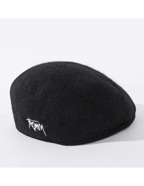 Fashion Black Split Bow Stitching Solid Color Letter Embroidery Fisherman Hat