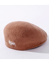 Fashion Camel Graffiti Embroidery Wool Solid Color Beret