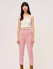 Fashion Pink Slim-fit Corduroy Solid Color Trousers