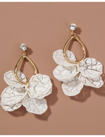 Fashion White Drop-shaped Alloy Earrings With Diamond Petals