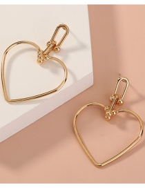 Fashion Gold Color Heart Hollow Alloy Earrings