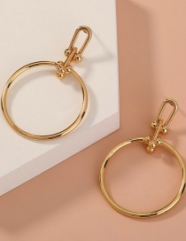 Fashion Gold Color Geometric Round Alloy Hollow Earrings