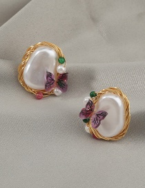 Fashion Gold Color Resin Butterfly Shaped Imitation Baroque Pearl Earrings