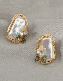 Fashion Gold Color Hand-wound Pearl Butterfly Alloy Earrings