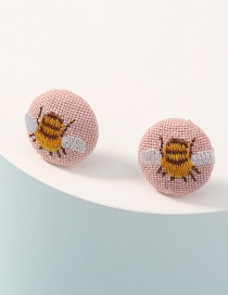 Fashion Pink Fabric Round Bee Embroidery Earrings