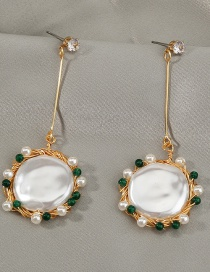 Fashion White Oblate Pearl Beaded Hand-wound Earrings