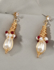 Fashion Gold Color Hand-wound Pearl And Diamond Geometric Earrings