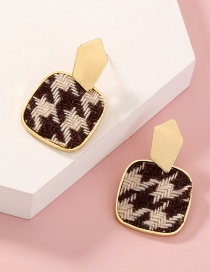 Fashion Coffee Color Houndstooth Square Alloy Earrings