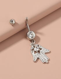 Fashion Silver Color Color Palm Stainless Steel Diamond-studded Belly Button Nail