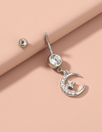 Fashion Silver Color Color Stainless Steel Moon Star Diamond Navel Nail