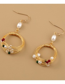 Fashion Gold Color Handmade Round Pearl Natural Stone Earrings