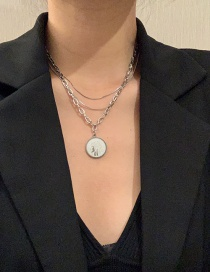 Fashion Silver Color Color Stainless Steel Round Brand Pendant Multi-layer Necklace
