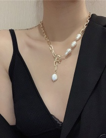 Fashion (real Gold Plated) Shaped Pearl Pendant Alloy Necklace