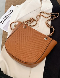Fashion Brown Chain Rhombus Lacquered Shoulder Crossbody Bag