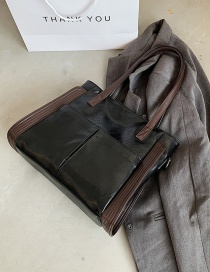 Fashion Coffee Color Large Capacity Soft Leather Stitching Shoulder Messenger Bag