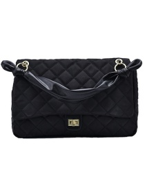 Fashion Black Nylon Cloth Diamond Chain Shoulder Crossbody Bag
