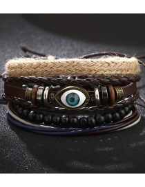 Fashion Color Mixing Leather Beaded Eye Multi-layer Bracelet