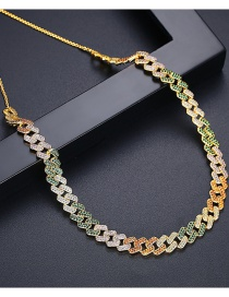 Fashion 18k Copper Inlaid Zircon Hollow Chain Necklace