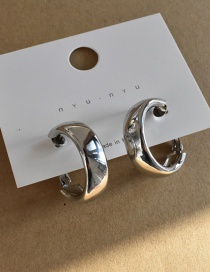Fashion Silver Color Mirror Geometry Round Alloy Earrings