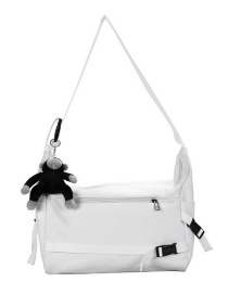 Fashion White Send Pendant Buckle Solid Color Canvas Shoulder Messenger Bag