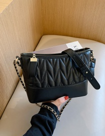 Fashion Black Chain Rhombus Stitching Contrast Color One-shoulder Messenger Bag