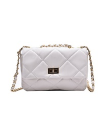 Fashion White Trumpet Embroidered Thread Chain Lock Shoulder Messenger Bag