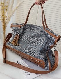 Fashion Gray Large-capacity Rivet Lattice Single Shoulder Messenger Bag