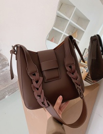 Fashion Dark Brown Solid Color Stitching Single Shoulder Messenger