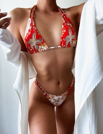 Fashion Red Printed Chain Strap Split Swimsuit