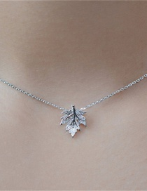 Fashion Silver Color Stainless Steel Diamond Maple Leaf Necklace