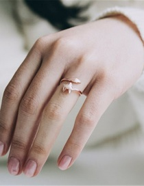 Fashion Rose Gold Fox Alloy Adjustable Open Ring