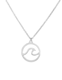 Fashion Silver Color Geometric Lightning Round Wave Necklace