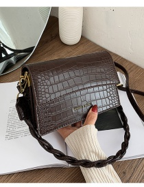 Fashion Coffee Color Crocodile Pattern Flap Stamped Letters One-shoulder Messenger Bag