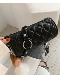 Fashion Black Ring Diamond Shoulder Messenger Bag