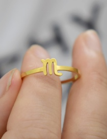 Fashion Gold Color Scorpio Constellation Hollow Stainless Steel Opening Adjustable Ring
