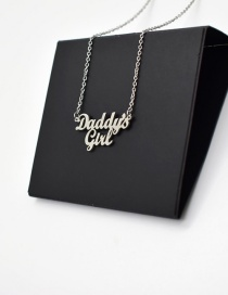 Fashion Steel Color Stainless Steel Letter Cutout Pendant Necklace