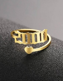 Fashion 2000 Gold Love Heart Stainless Steel Digital Hollow Open Ring