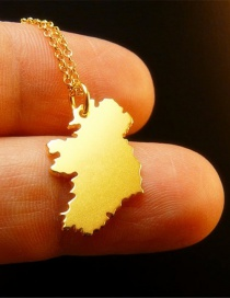 Fashion Gold Color Ireland Country Map Alloy Necklace