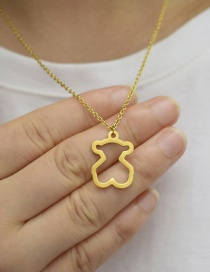 Fashion Gold Color Hollow Bear Pendant Stainless Steel Necklace