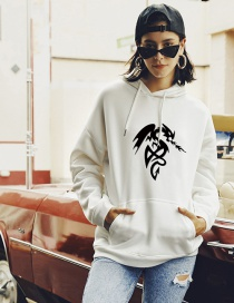 Fashion White Abstract Print Hoodie